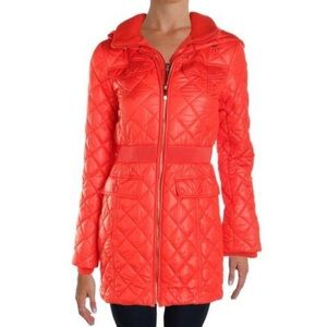 Kate Spade Quilted Puffer Coat with Knit Trim SM
